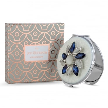 Blue crystal flower compact mirror