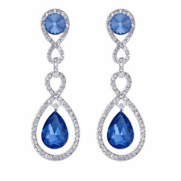 Blue crystal multi link peardrop earring
