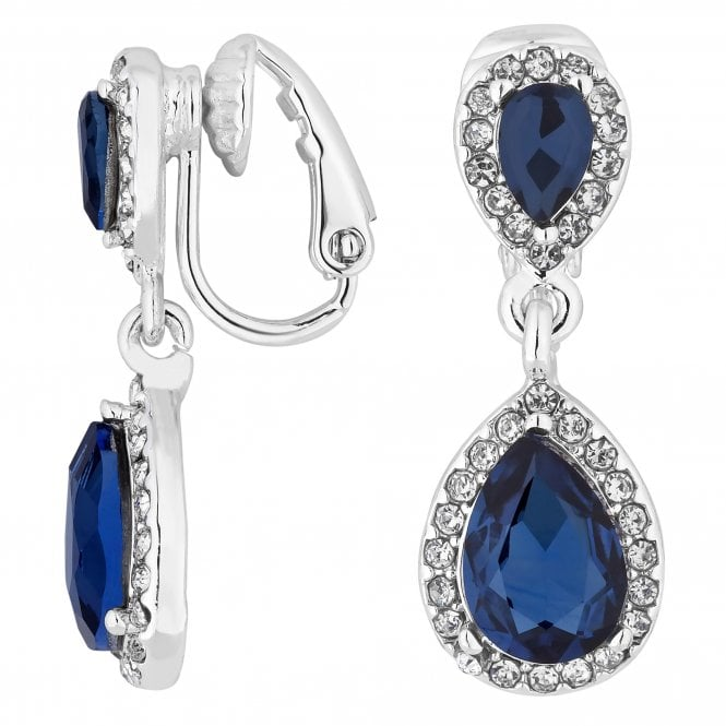 Blue Crystal Peardrop Clip On Earring