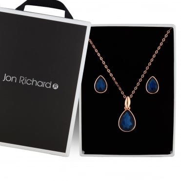 Blue crystal peardrop jewellery set