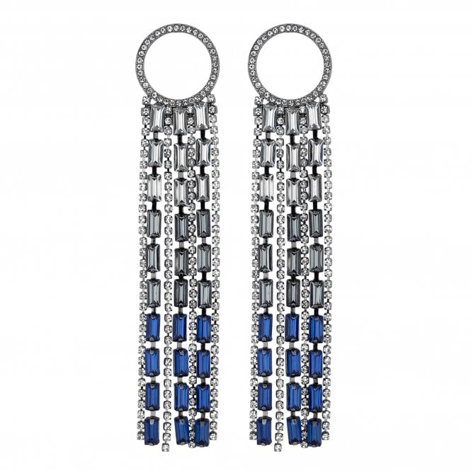 Blue Crystal Ring Drop Statement Earring