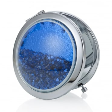 Blue crystal shaker compact mirror