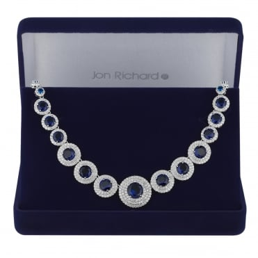 Blue cubic zirconia circle necklace