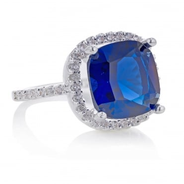 Blue cubic zirconia pave square ring