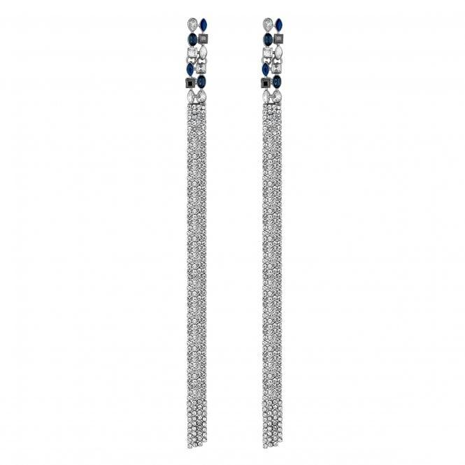 Blue Diamante Waterfall Statement Drop Earrings