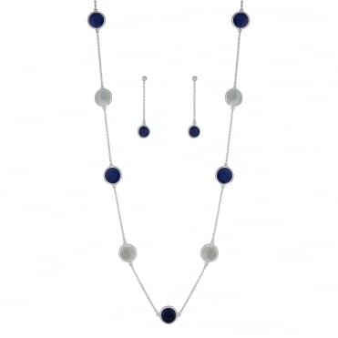 Blue disc jewellery set