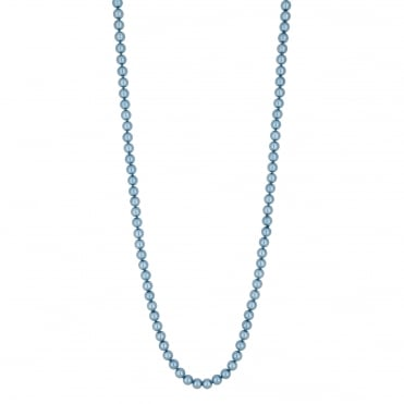 Blue long pearl necklace
