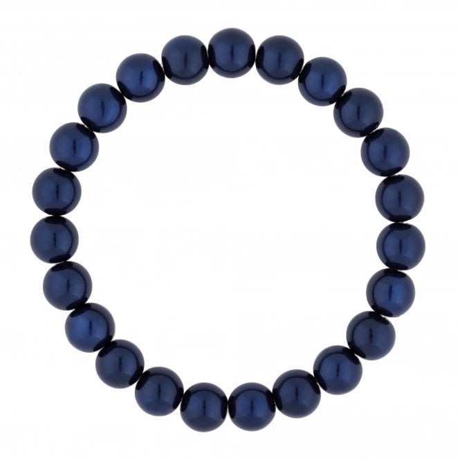 Blue Navy Pearl Stretch Bracelet