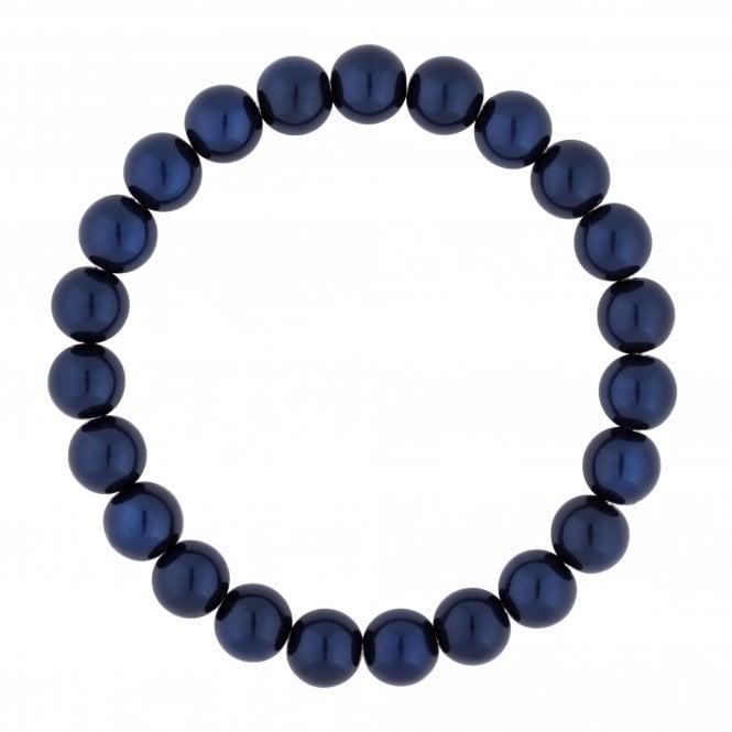 Blue Navy Pearl Stretch Bracelet