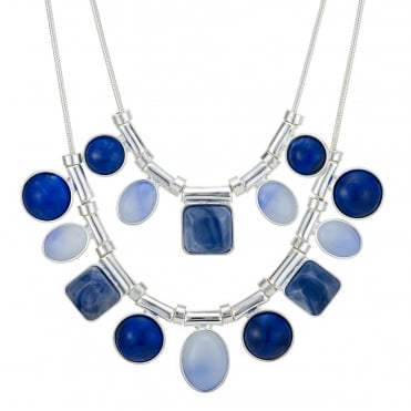 Blue tonal mixed shape necklace