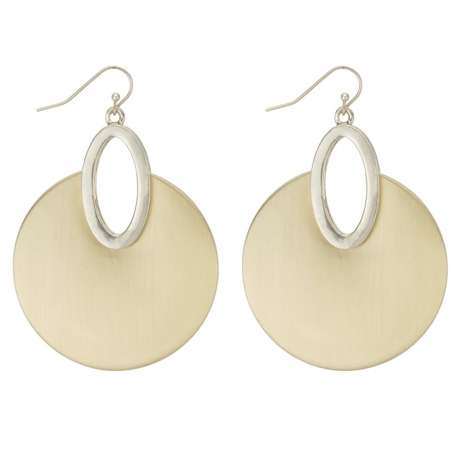 MOOD By Jon Richard Gold Brushed Metal Disc Drop Earring