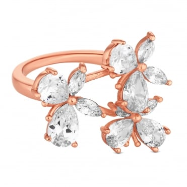 Rose Gold Plated Cubic Zirconia Butterfly Cluster Ring