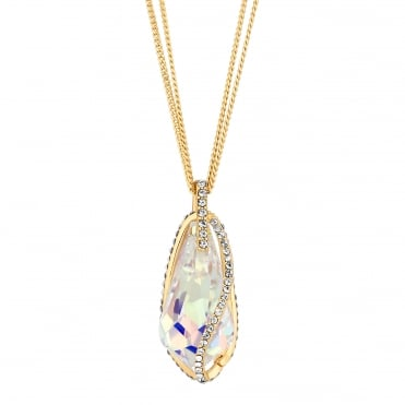 Gold Caged Crystal Long Necklace Embellished With Swarovski® Crystals