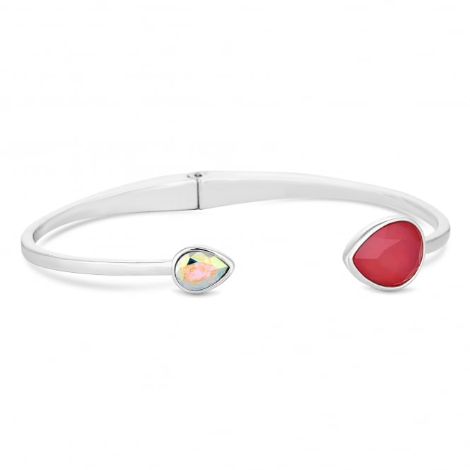 Silver Red Pear Drop Cuff Bangle Embellished With Swarovski Crystals