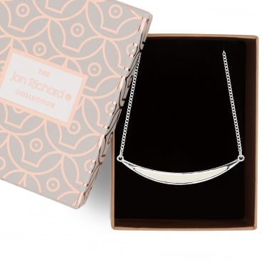 Cream enamel curved bar necklace