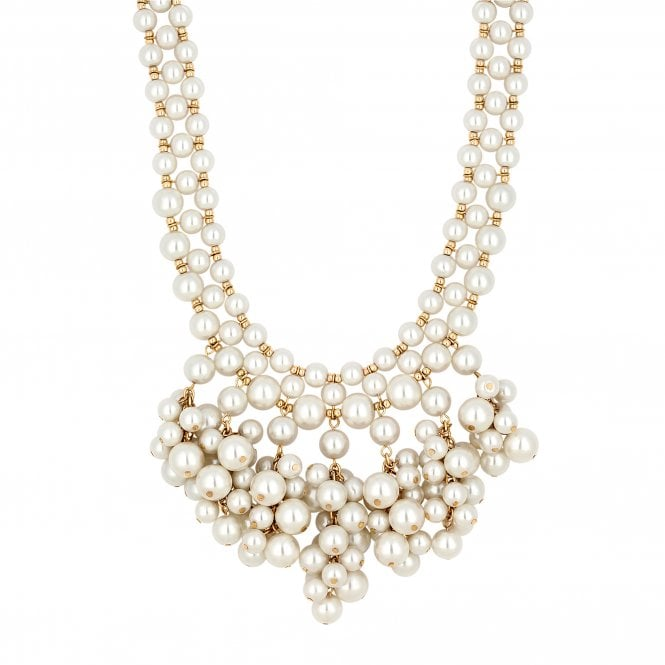 Cream Pearl Cluster Statement Necklace