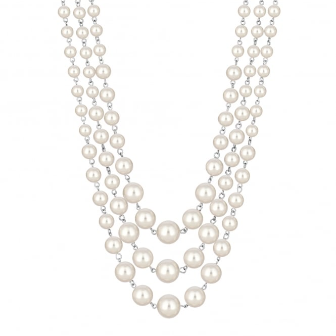 Jon Richard Cream pearl multi row necklace