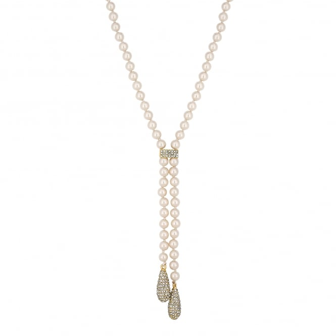 Cream pearl pave droplet necklace