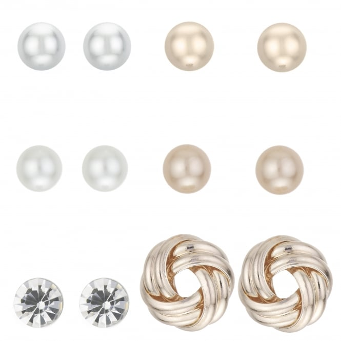 MOOD By Jon Richard Rose Gold Crystal And Pearl Stud Earring Set