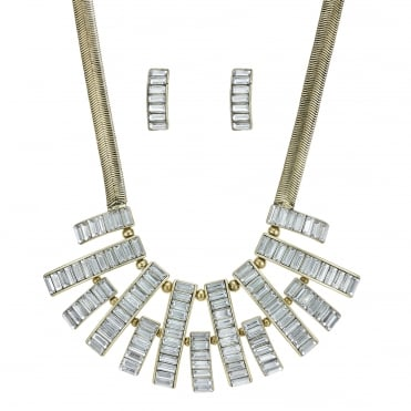 Crystal bar necklace and earring set