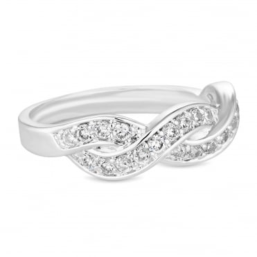 Silver Plated Cubic Zirconia Braided Ring