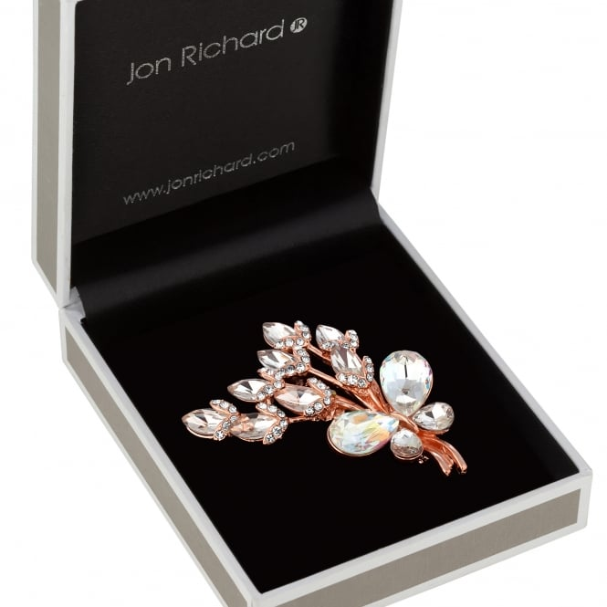 Jon Richard Crystal butterfly flower brooch