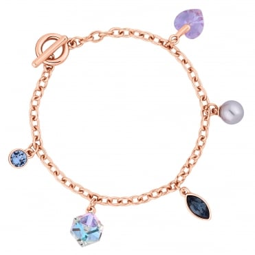 Gold Purple Crystal Charm Bracelet Embellished With Swarovski® Crystals