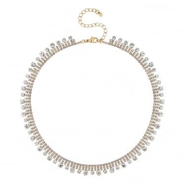Crystal circle collar necklace