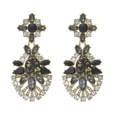 Crystal cluster statement earring