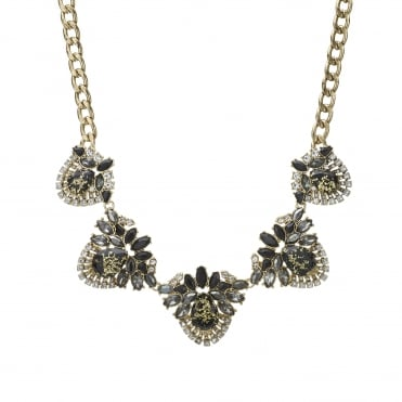 Crystal cluster statement necklace