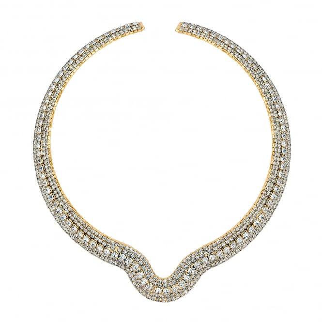 Gold Plated Crystal Diamante Collar Necklace