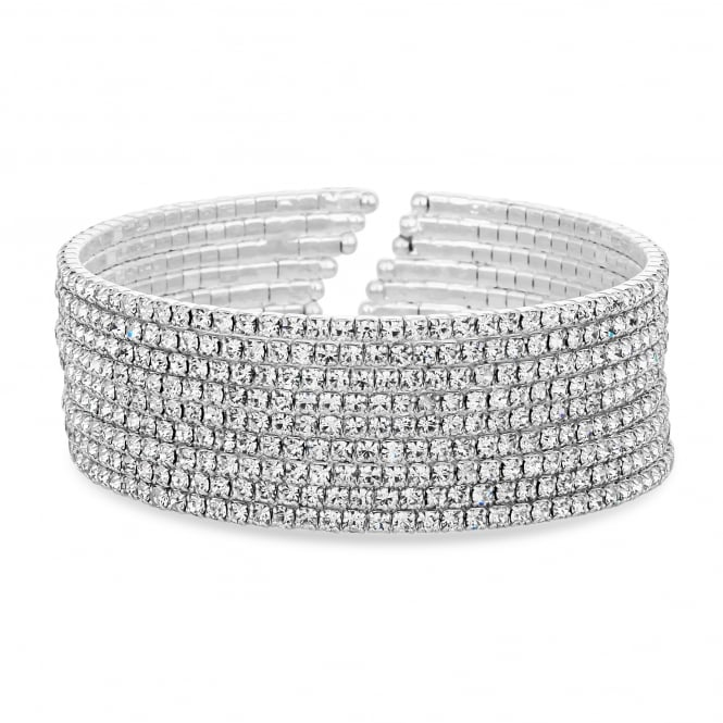 Jon Richard Silver Plated Crystal Diamante Cuff Bangle