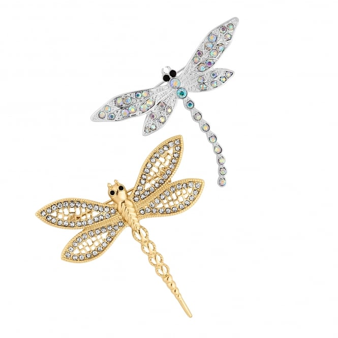 Gold And Silver Crystal Dragonfly Brooch Set