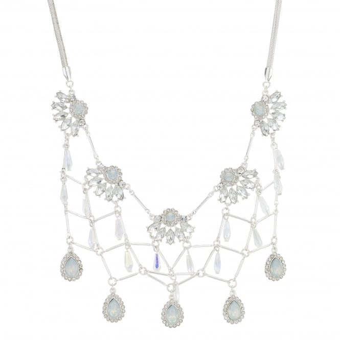 Silver Crystal Fan Link Statement Necklace