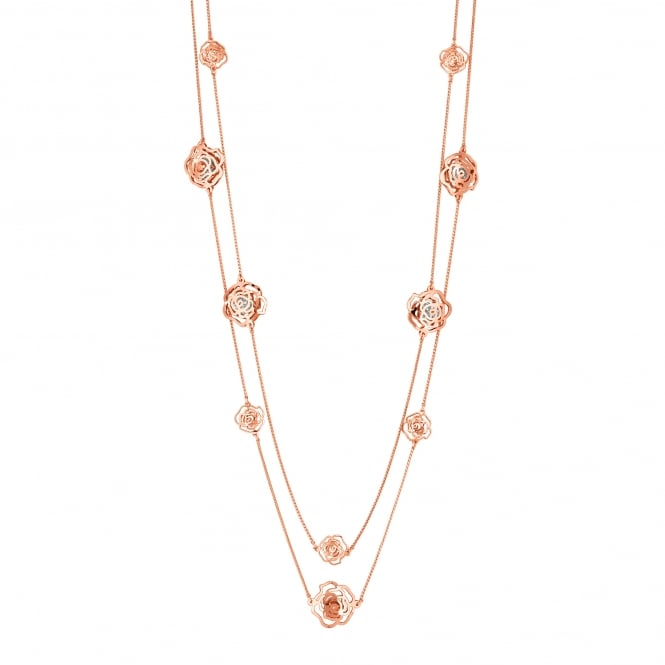 Jon Richard Rose Gold Plated Crystal Filigree Rose Multi Row Necklace