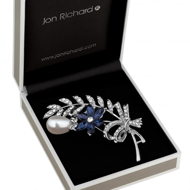 Jon Richard Silver Blue Crystal Floral Bouquet Brooch In A Gift Box