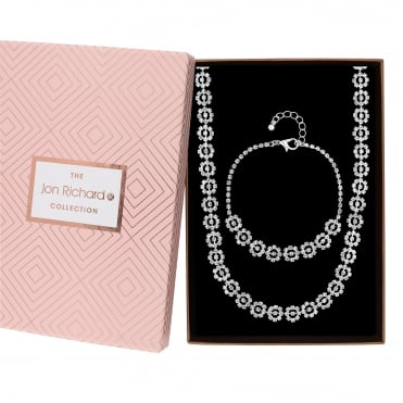Crystal floral diamante jewellery set in a gift box
