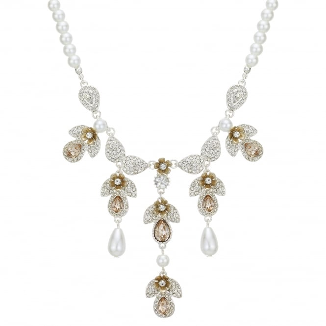 Silver Crystal Floral Droplet Statement Necklace