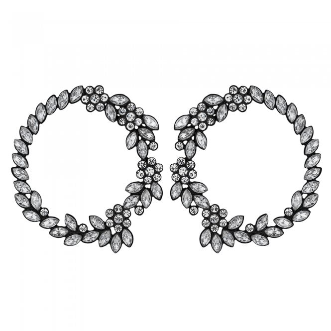 Crystal Floral Hoop Stud Earring