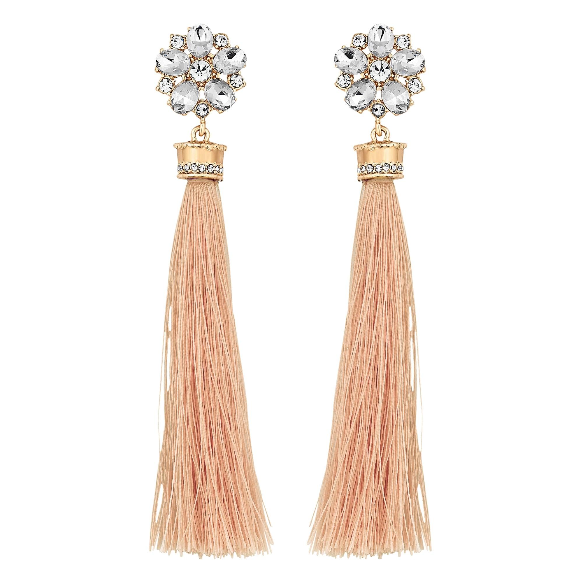 Gold Crystal Floral Pink Tassel Drop Earring