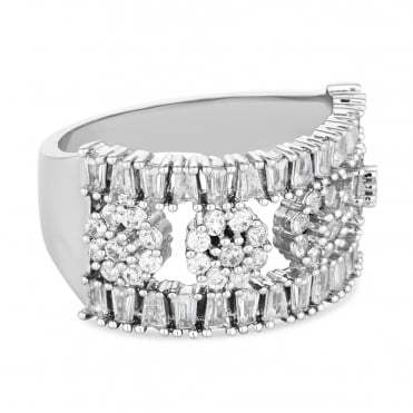 Silver Plated Cubic Zirconia Flower Bar Ring