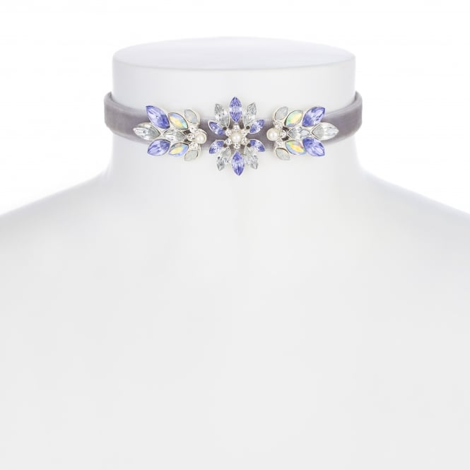MOOD By Jon Richard Silver Purple Crystal Flower Choker Necklace