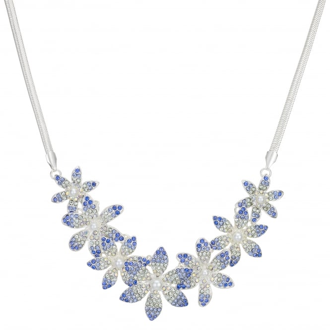 MOOD By Jon Richard Blue Crystal Flower Statement Necklace