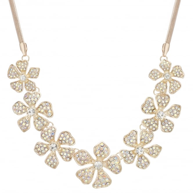 MOOD By Jon Richard Rose Gold Crystal Flower Statement Necklace