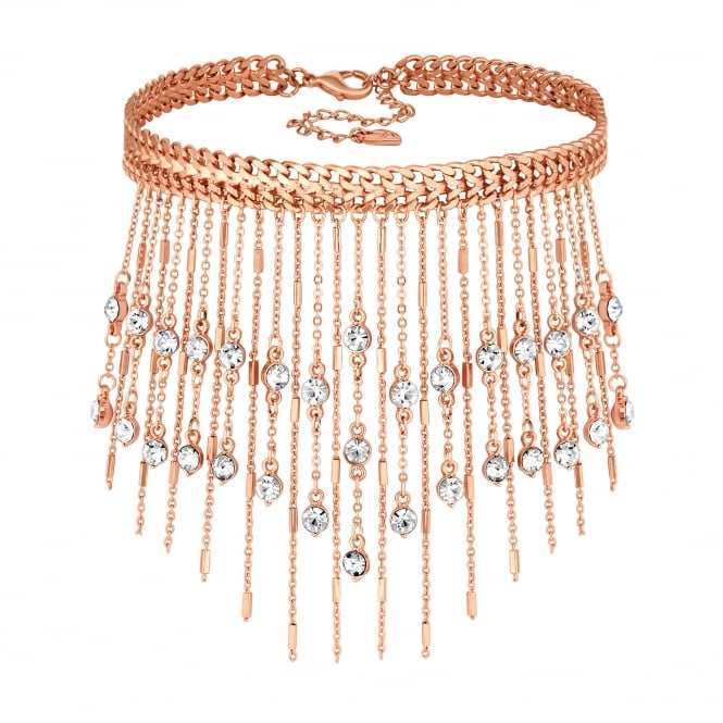 Rose Gold Crystal Fringe Choker Necklace