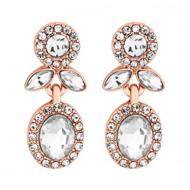 Crystal halo floral drop earring