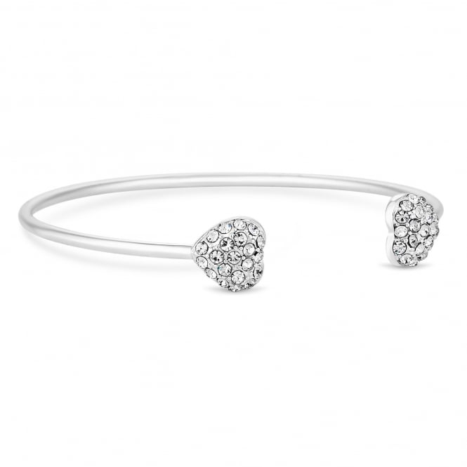 Silver Crystal Heart Cuff Bracelet
