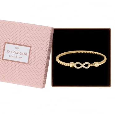 Crystal infinity bangle in a gift box