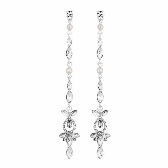 Silver Crystal Linear Drop Earring