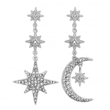 Silver Crystal Moon And Star Statement Drop Earring
